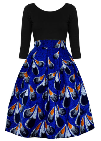 Amsa African Print Midi Skirt With Sash (Blue/Orange Peacock Feathers)