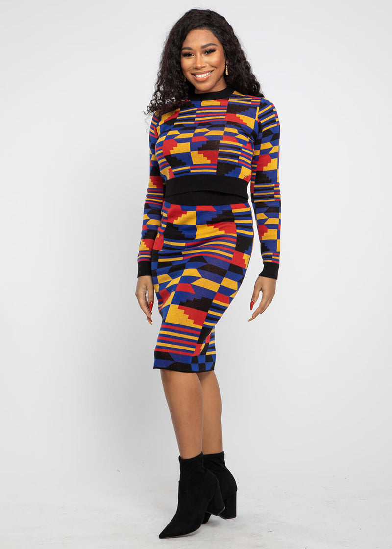 Yasiko African Print Knit Skirt (Indigo Red Kente)