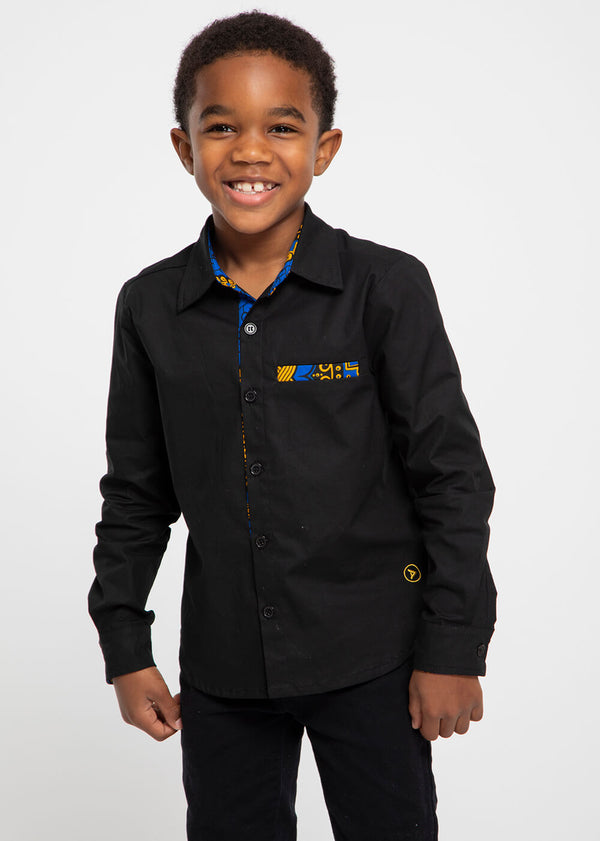 Asiki African Print Boy's Button-Up Shirt (Black/Gold Blue Motif)