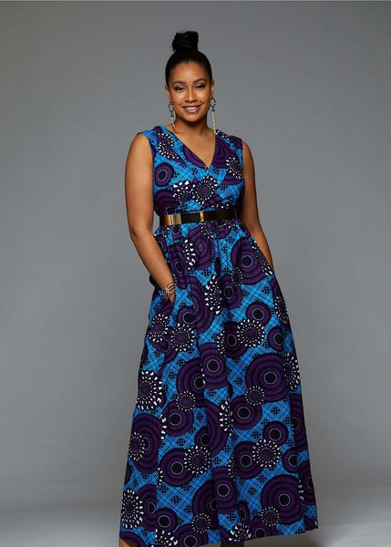 Ayanna African Print Shawl Collar Maxi Dress (Blue Purple Swirls)