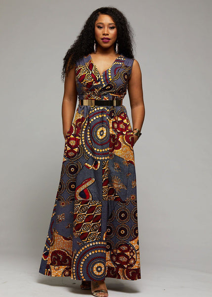 Ayanna African Print Shawl Collar Maxi Dress (Yellow Blue Multipattern)