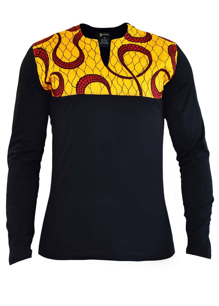 Ayo Men's African Print Long Sleeve Shirt (Yellow And Red Swirls/Black)