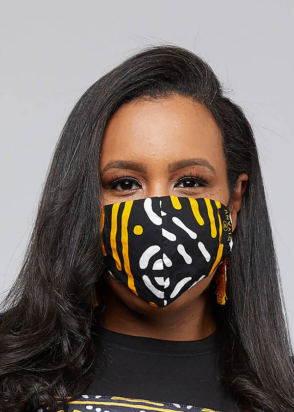 Shaka African Print 3 Layer Reusable Face Mask (BLACK GOLD MUDCLOTH)
