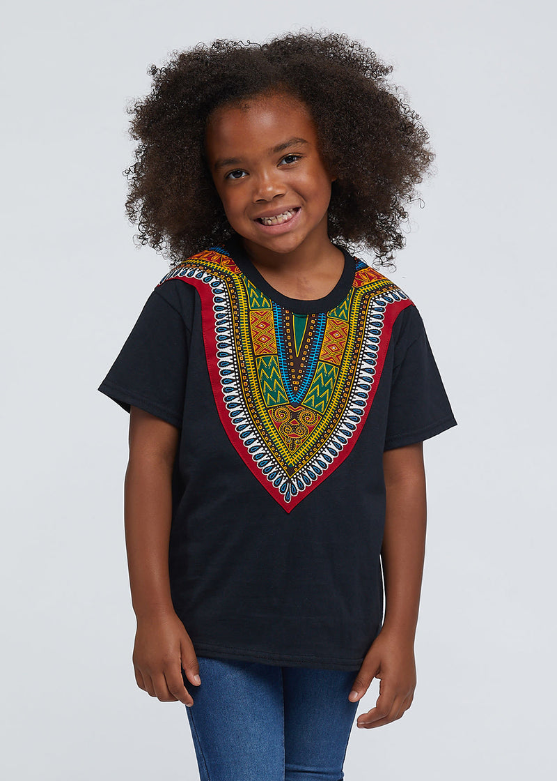 Kid's African Print Dashiki T-Shirt (Black)