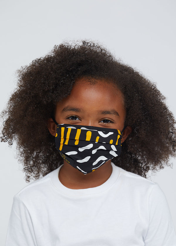 Uzo African Print 2 Layer Reusable Face Mask (Black Gold Mudcloth)