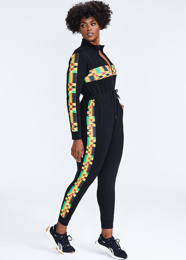 Imuna African Print Color Blocked Zip-Up Jumpsuit (Black/Gold Maroon Kente) - Clearance