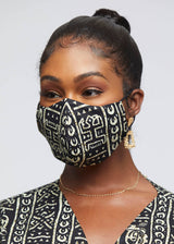 Dabo African Print 2 Layer Reusable Face Mask (Black White Tribal)