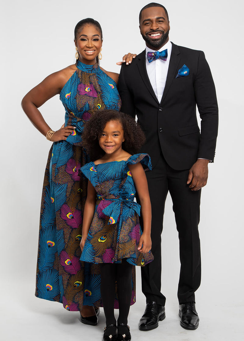 Halif African Print Satin Bow Tie and Pocket Square (Blue Pink Peacock) - Clearance