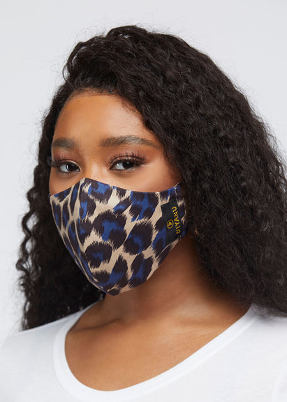 Dabo 2 Layer Reusable Face Mask (Tan Blue Cheetah)
