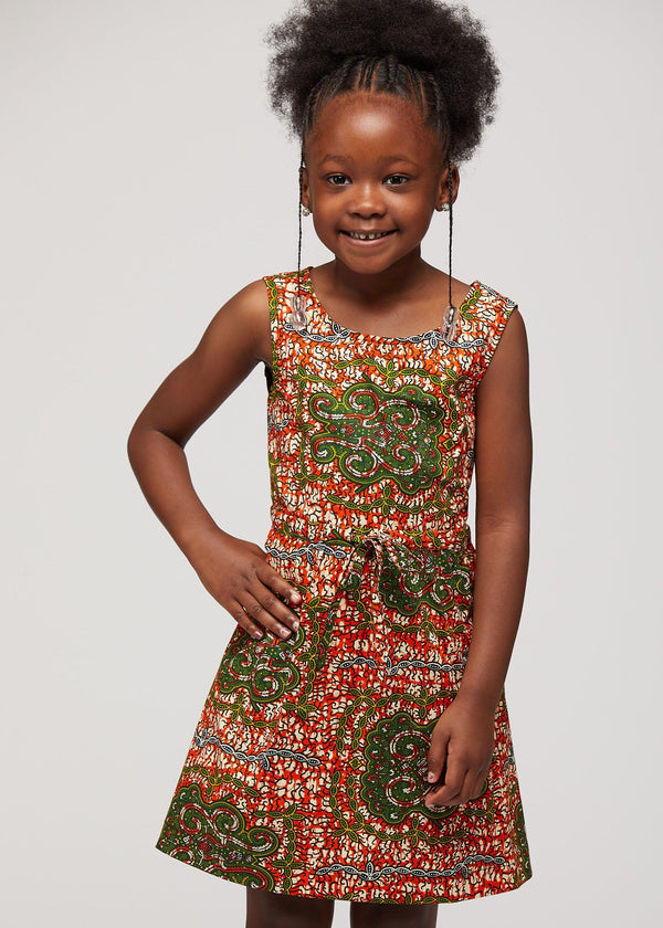 Bola African Print Girls' Summer Dress (Orange Tortiose Back)
