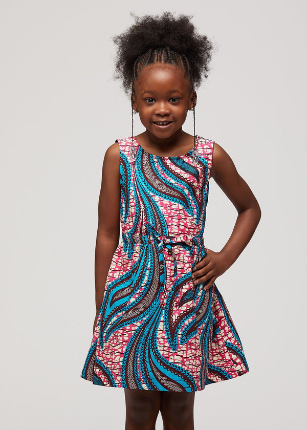 Bola African Print Girls' Summer Dress (Pink Blue Leaves)
