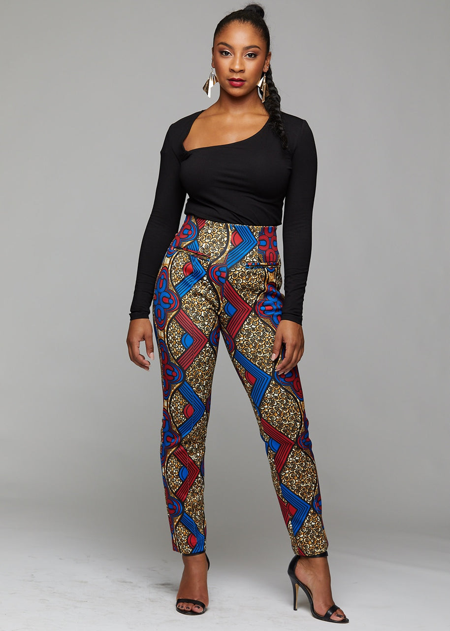 Bottoms - Bala African Print High-waisted Pintucked Pants With Stretch (Red/Blue/Tan)