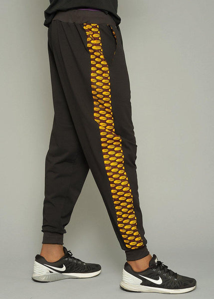 Bottoms - Berko Men's African Print Side Stripe Joggers (Gold Shells)
