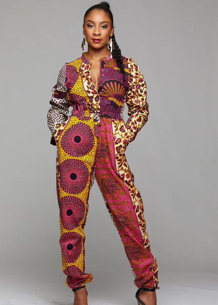 5275878aa09 Eniola African Print Button-Up Jumpsuit (Pink Yellow Patchwork)