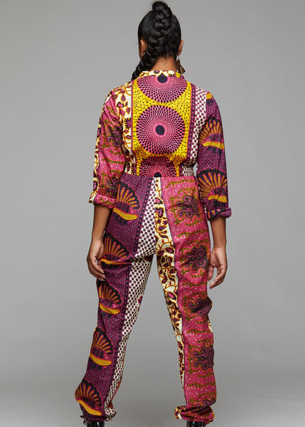 ca37df37c11 Eniola African Print Button-Up Jumpsuit (Pink Yellow Patchwork) – D IYANU
