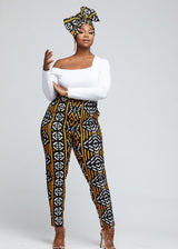 Folabi African Print Stretch Skinny Pant with Side Stripe (Black Gold Mudcloth)
