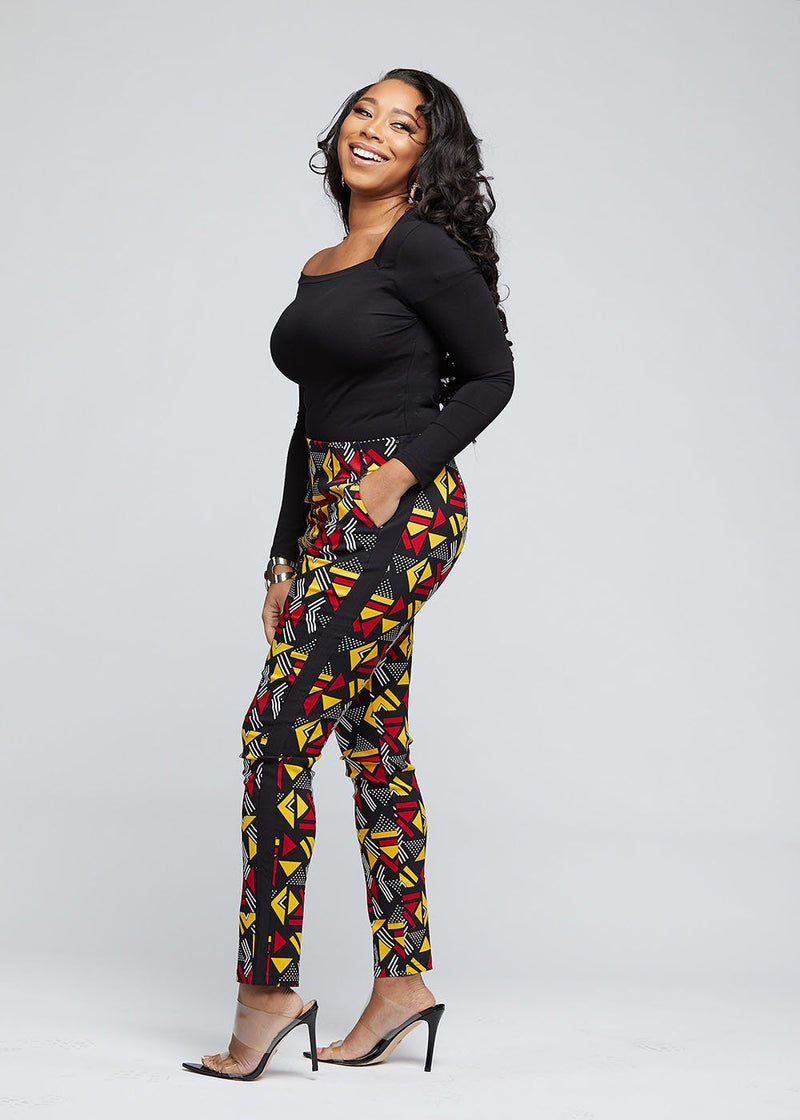 Folabi African Print Stretch Skinny Pant with Side Stripe (Red Yellow Geometric)