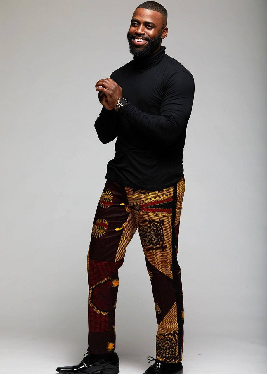 Bottoms - Ike Men's African Print Dress Pants With Racing Stripe (Black/Burgundy Gold Black)
