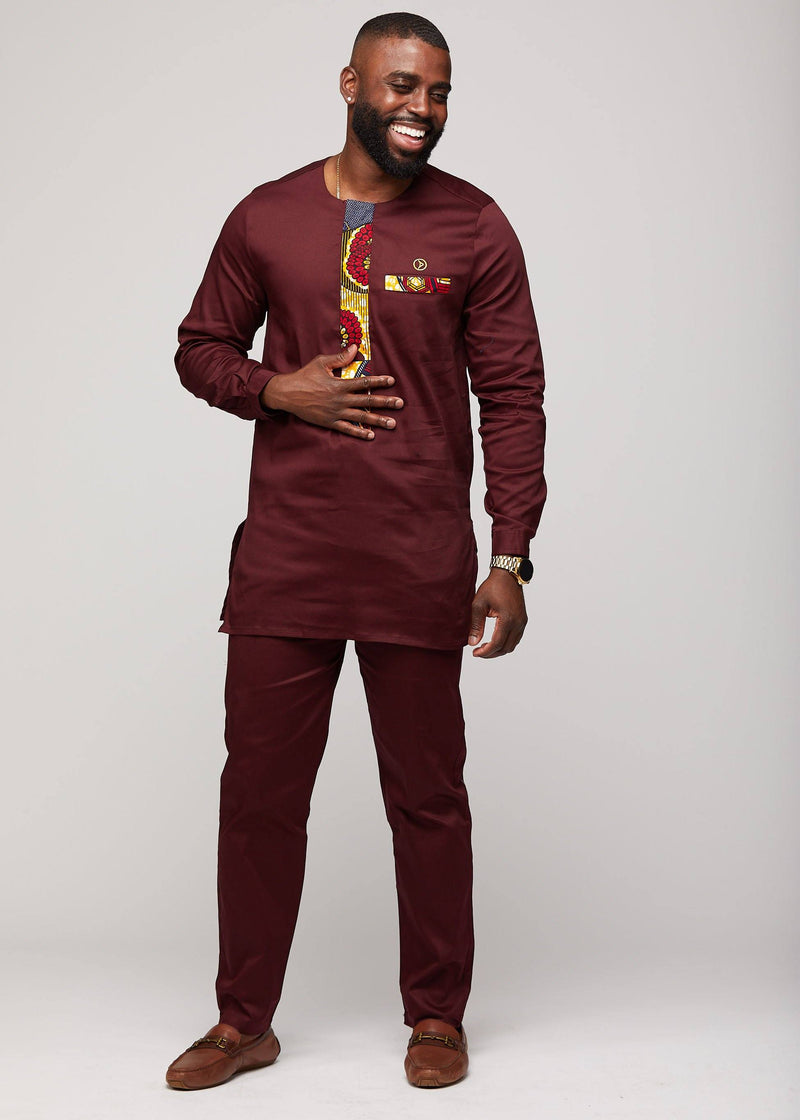 Bottoms - Jelan Men's African Print Traditional Dress Pants With Drawstring (Maroon)