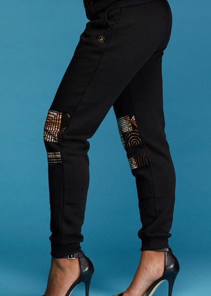 Bottoms - Kenya Women's African Print Double Stripe Joggers (Black/Brown Geometric)