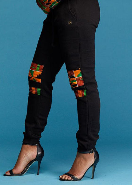 Bottoms - Kenya Women's African Print Double Stripe Joggers (Red/Green/Yellow Kente)