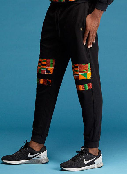 Bottoms - Kojo Men's African Print Double Stripe Joggers (Red/Green/Yellow Kente)