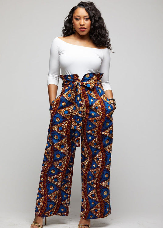 867638562a0 Lina African Print Wide Leg Envelope Pant (Blue Pyra.