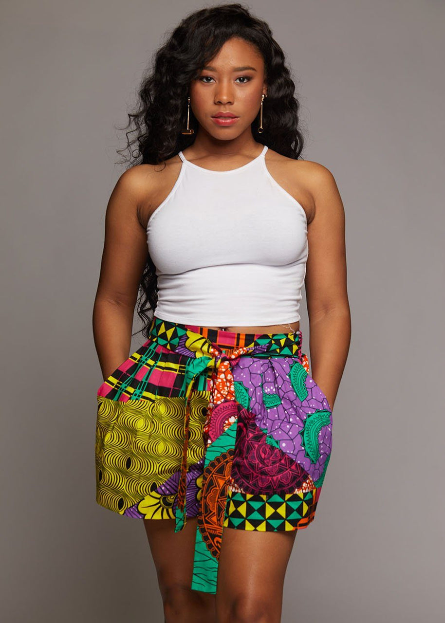 Bottoms - Makena African Print Wide Leg Shorts (Colorful Multipattern)