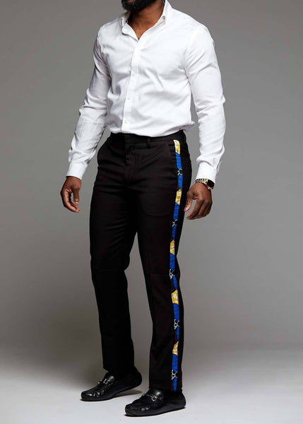 Bottoms - Oba Men's African Print Dress Pants With Racing Stripe (Black/Blue Bubbles On Yellow)