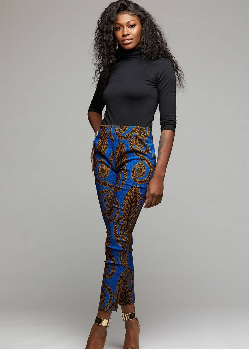 Bottoms - Safina African Print Fitted High-waisted Pants (Blue Gold Leaves)