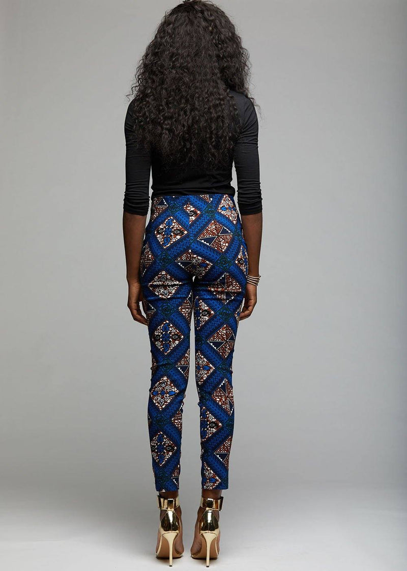 Bottoms - Safina African Print Fitted High-waisted Pants (Blue Tan Diamonds)