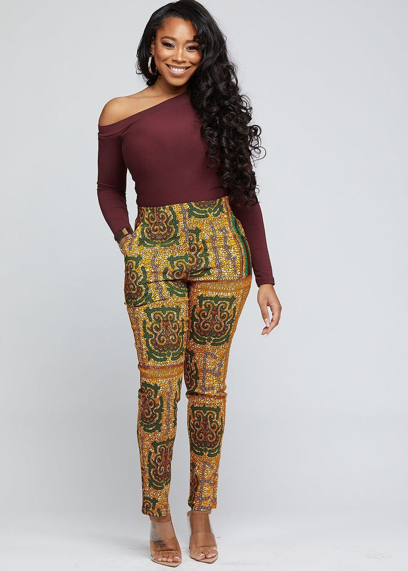 Safina African Print Stretch Fitted High-Waisted Pants (Green Tortoise Back)
