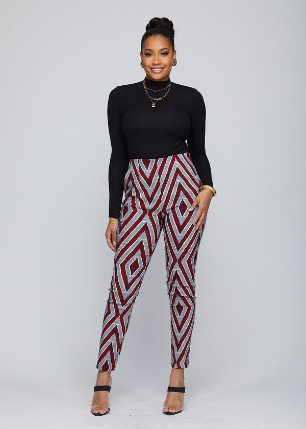 Bottoms - Safina African Print Stretch Fitted High-Waisted Pants (Maroon Grey Chevron)
