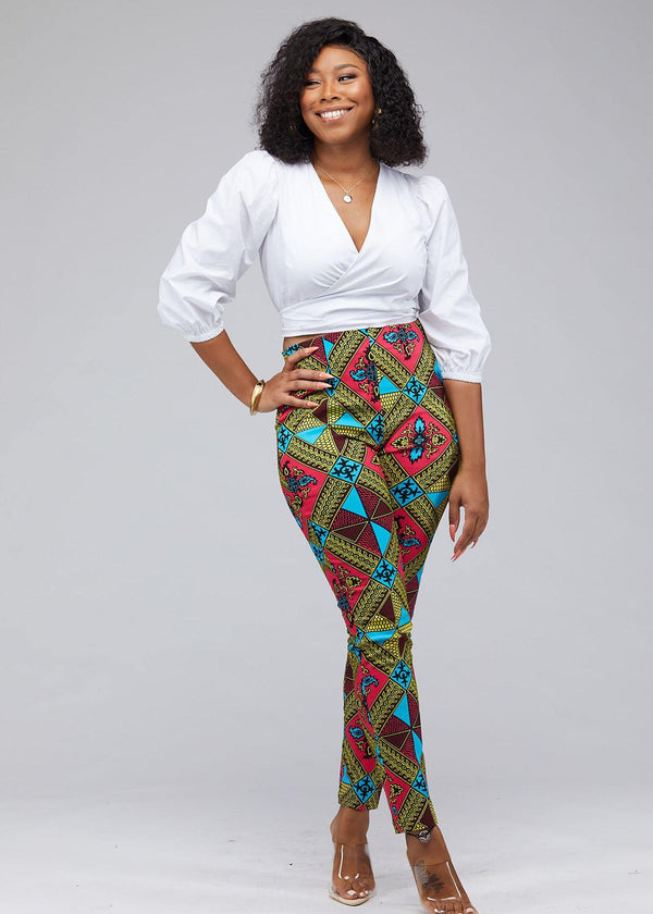 Bottoms - Safina African Print Stretch Fitted High-Waisted Pants (Pink Blue Diamonds)