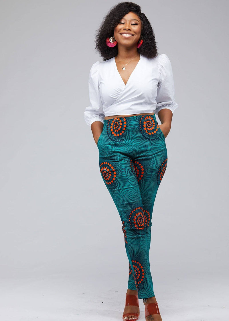 Bottoms - Safina African Print Stretch Fitted High-Waisted Pants (Turquoise Orange Swirls)