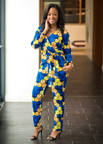 Bottoms - Tamela African Print Jumpsuit (Blue/Orange/Yellow)
