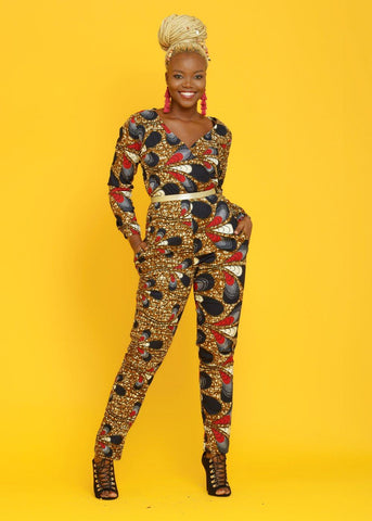 Bottoms - Tamela African Print Jumpsuit (Red/Navy/White Peacock)