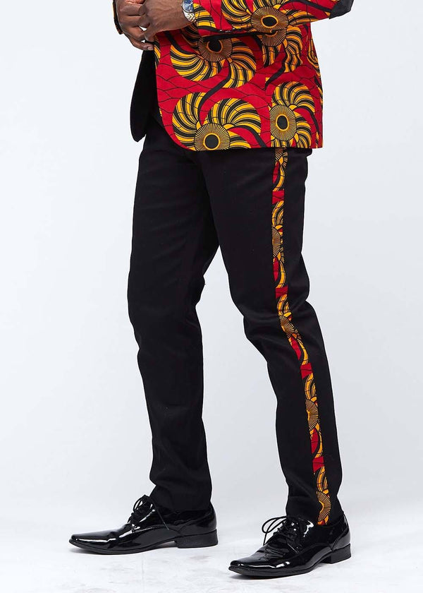 Bottoms - Tendai African Print Men's Trouser With Race Stripe (Red Yellow Swirls)