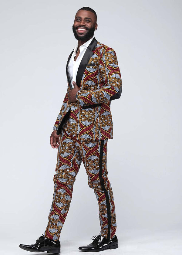 Bottoms - Tendai African Print Men's Trouser With Race Stripe (Red Yellow Vines)