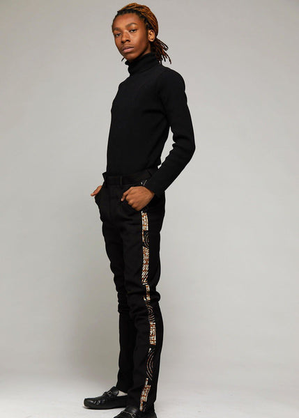 edaf2725a3b Bottoms - Youth Oba African Print Dress Pant With Racing Stripe  (Black Black Brown