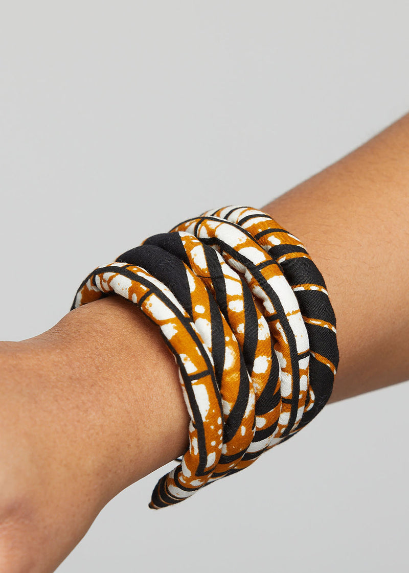 Asabi Women's African Print Layered Bangle Bracelet (Black Brown Geometric)