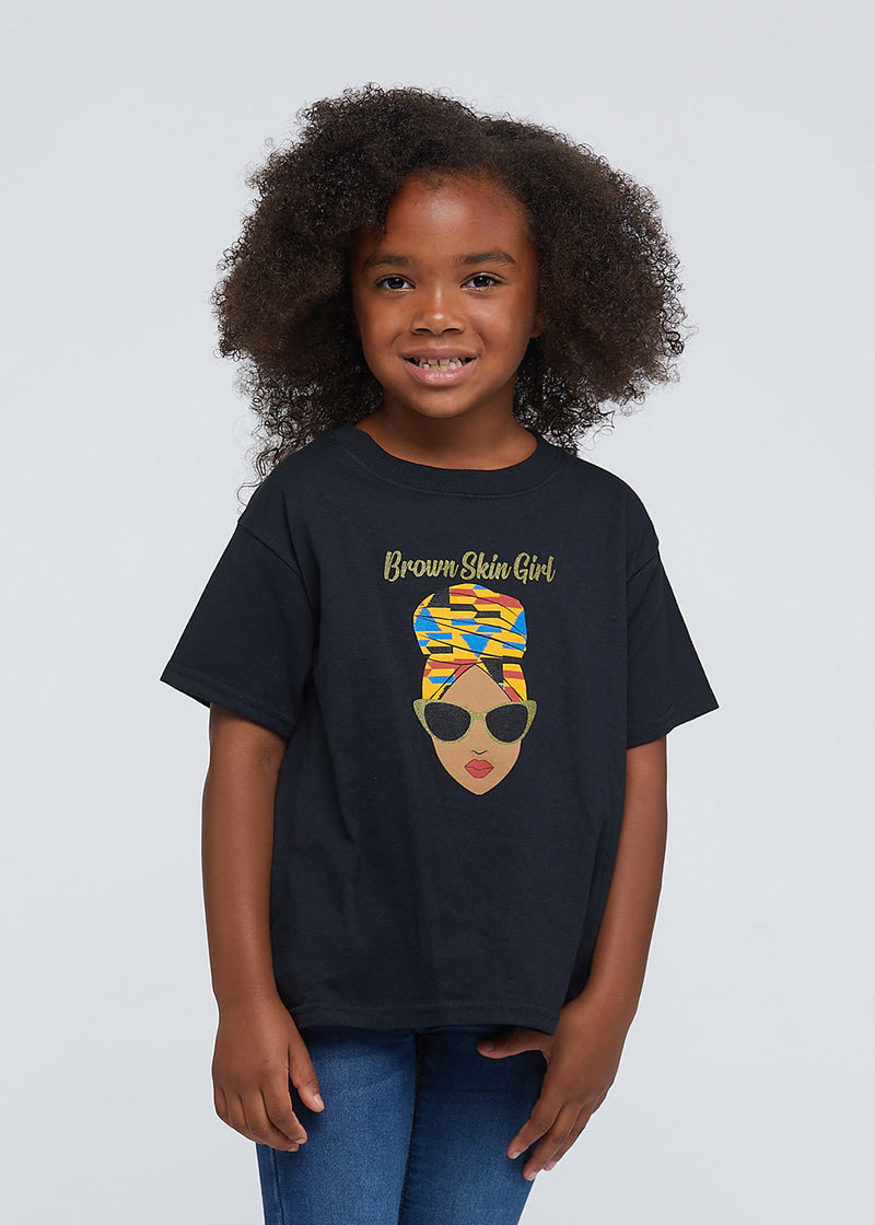 "Dia Girls' ""Brown Skin Girl"" Graphic Tee (Black)"