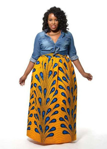 Chic African Print Maxi Skirt (Peacock Feather)