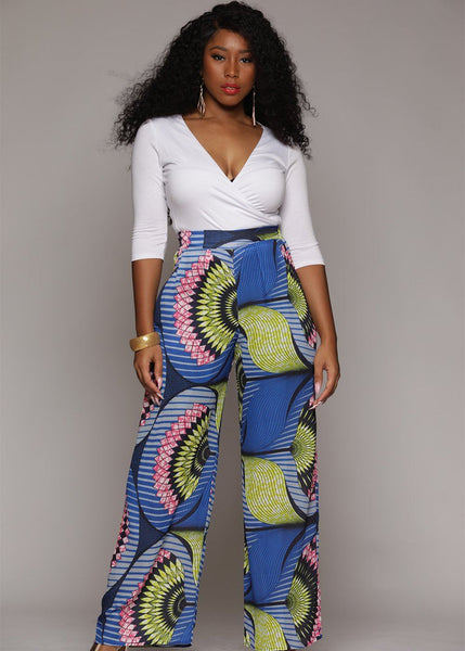Chide Chiffon African Print Wide Leg Pants (Blue/Pink Flowers)