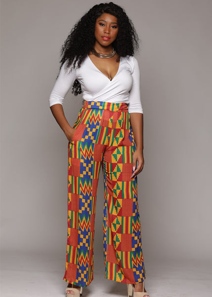 Chide Chiffon African Print Wide Leg Pants (Orange/Blue Kente)