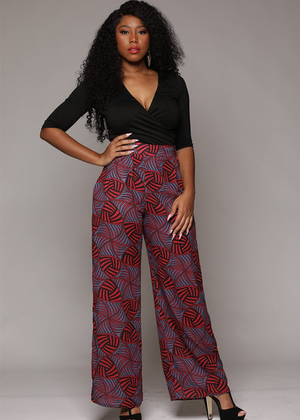 Chide Chiffon African Print Wide Leg Pants (Red/Purple)