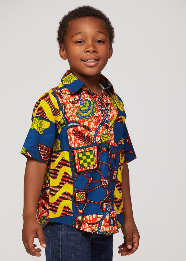 Chuks African Print Boys' Button-up Shirt (Blue Yellow Multistripe)