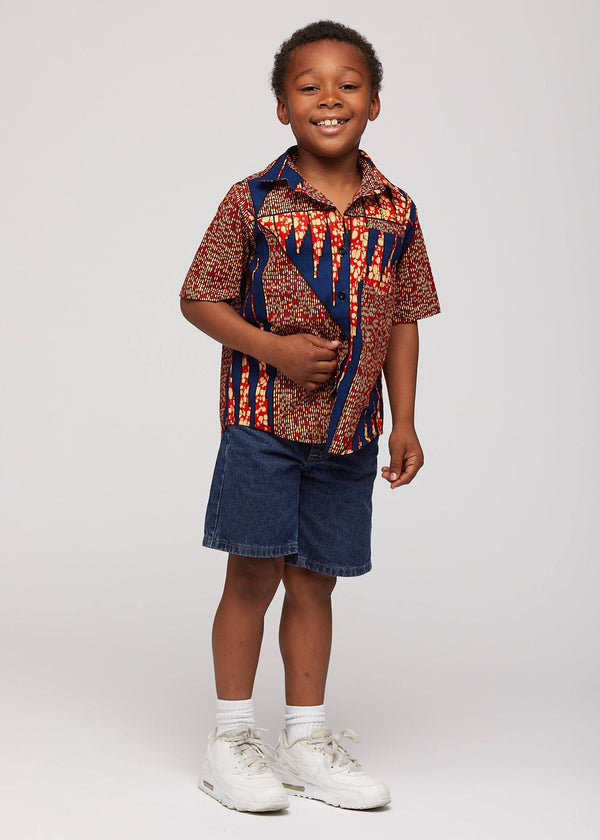 Chuks African Print Boys' Button-up Shirt (Orange Navy)