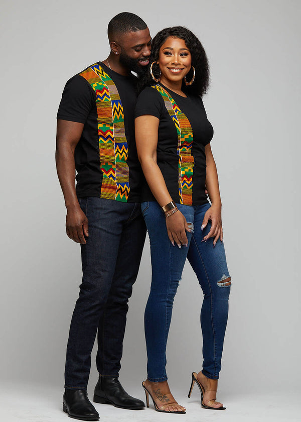 Kwau African Print T-Shirt (Black/Green Yellow Kente)