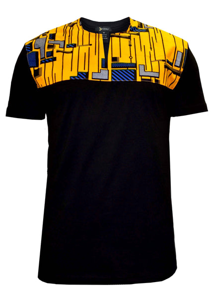 Dayo Men's African Print T-shirt (yellow/blue/black)